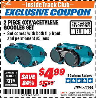 Harbor Freight 2 PIECE OXY/ACETYLENE GOGGLES SET coupon
