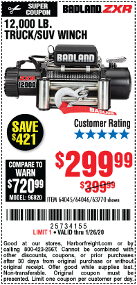 Harbor Freight 12,000 LB. TRUCK/SUV WINCH coupon