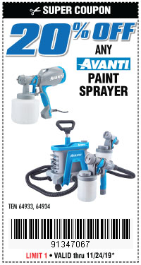 Harbor Freight 20PCT OFF ANY AVANTI PAINT SPRAYER coupon