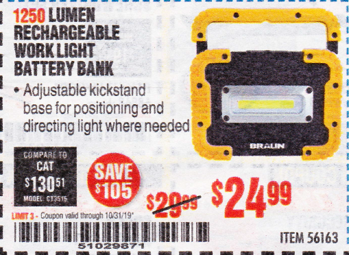 Harbor Freight 1250 LUMEN RECHARGEABLE WORK LIGHT BATTERY BANK coupon
