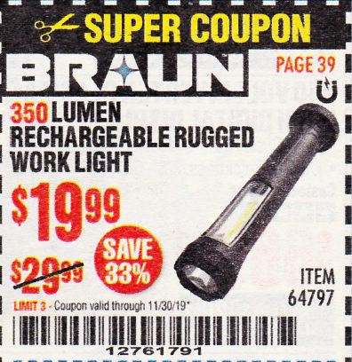 www.hfqpdb.com - 350 LUMEN RECHARGEABLE RUGGED WORK LIGHT Lot No. 64797