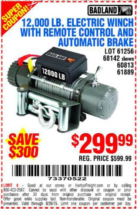 Harbor freight 12000 winch 2018 / Office depot ... on harbor freight winch coupon, harbor freight electric winch, harbor freight badlands winch, warn 8000 lb winch,