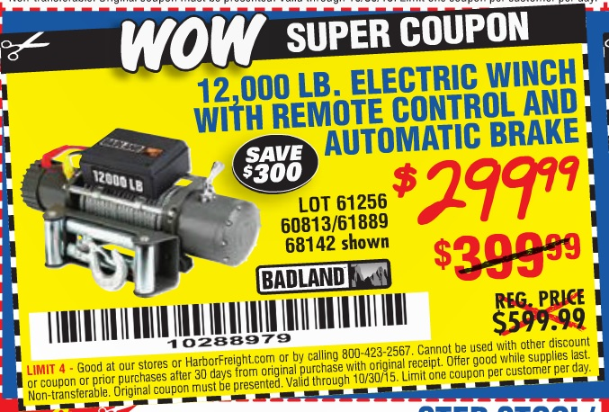 Harbor freight 12000 winch 2018 - Kohls 30 off printable ... on