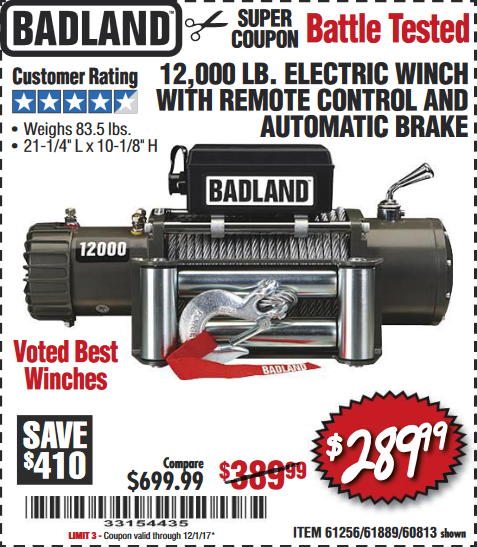 Harbor Freight 12,000 LB. ELECTRIC WINCH WITH REMOTE CONTROL AND AUTOMATIC BRAKE coupon