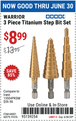 Harbor Freight 3 PIECE TITANIUM HIGH SPEED STEEL STEP BITS coupon