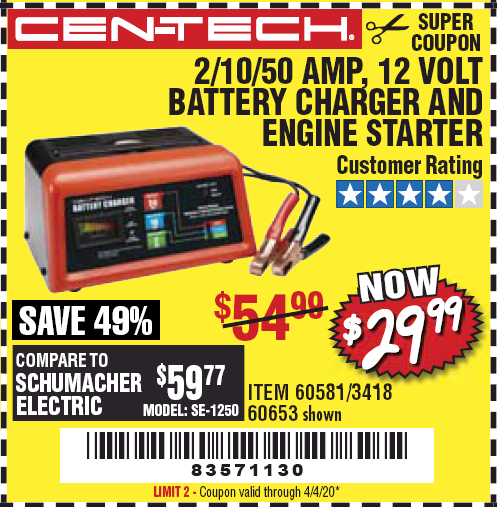 Harbor Freight CEN-TECH 2/10/50 AMP, 12 VOLT BATTERY CHARGER/ENGINE STARTER coupon