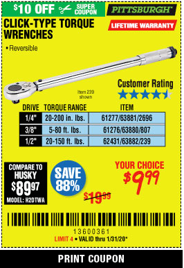 Harbor Freight PITTSBURGH CLICK-TYPE TORQUE WRENCHES coupon