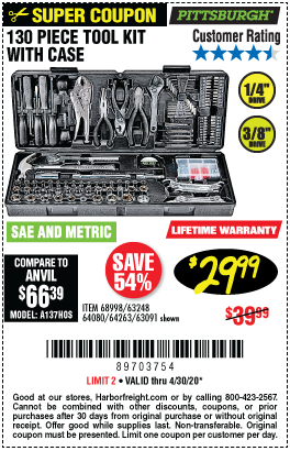Harbor Freight PITTSBURGH 130 PIECE TOOL KIT WITH CASE coupon
