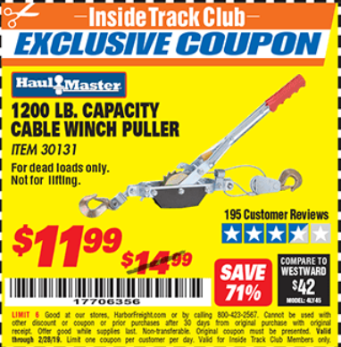 Harbor Freight 1200 LB. CAPACITY CABLE WINCH PULLER coupon