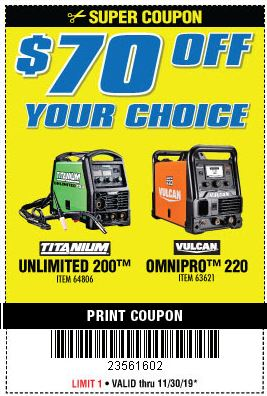 www.hfqpdb.com - $70 OFF YOUR CHOICE: TITANIUM UNLIMITED 200 OR VULCAN OMNIPRO 220 WELDER Lot No. 64806, 63621