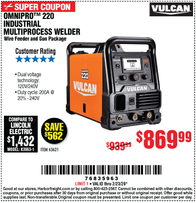 Harbor Freight $70 OFF YOUR CHOICE: TITANIUM UNLIMITED 200 OR VULCAN OMNIPRO 220 WELDER coupon