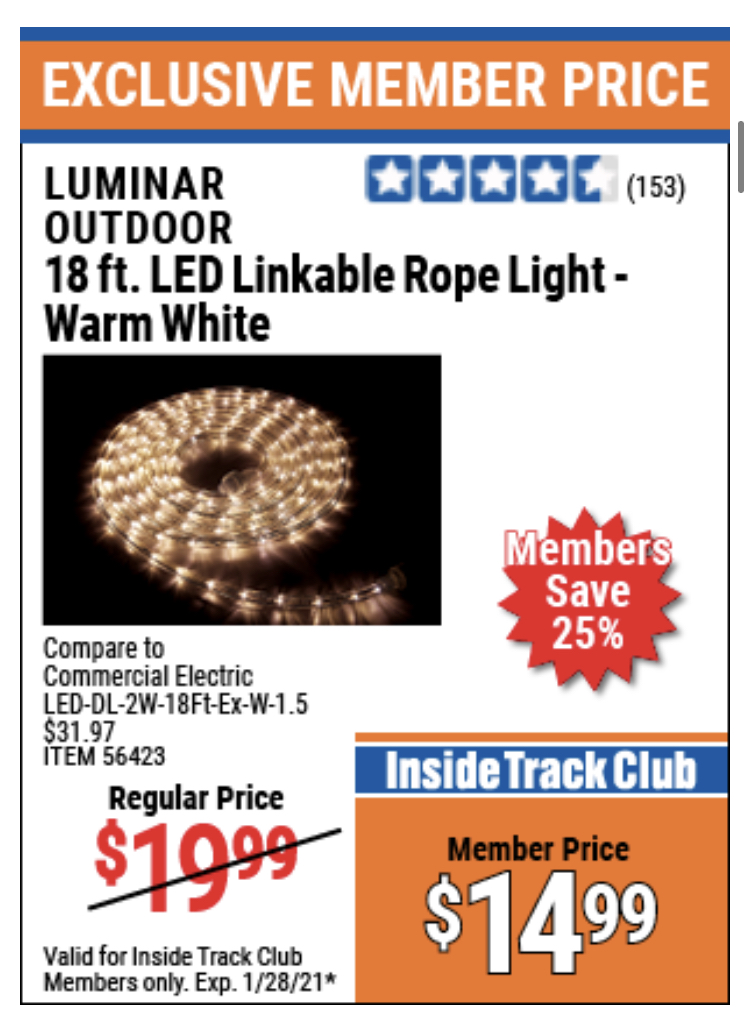 www.hfqpdb.com - LUMINAR OUTDOOR 18 FT. PLUG IN ROPE LIGHT Lot No. 56423