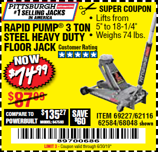 Harbor Freight RAPID PUMP 3 TON HEAVY DUTY STEEL FLOOR JACK coupon