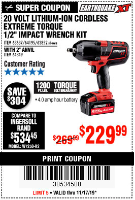"www.hfqpdb.com - LITHIUM-ION CORDLESS EXTREME TORQUE 1/2"" IMPACT WRENCH KIT Lot No. 63537, 64195, 63852, 64349"