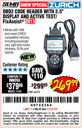 "www.hfqpdb.com - OBD2 CODE READER WITH 3.5"" DISPLAY AND ACTIVE TEST/FIXASSIST ZR15 Lot No. 56218"