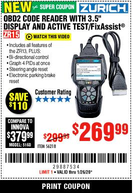 "www.hfqpdb.com - ZURICH OBD2 CODE READER WITH 3.5"" DISPLAY AND ACTIVE TEST/FIXASSIST ZR15 Lot No. 56218"