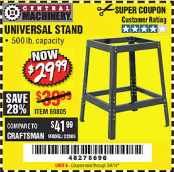 Harbor Freight UNIVERSAL TOOL STAND coupon