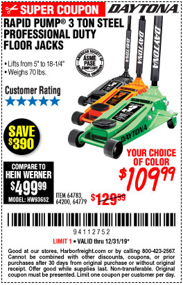 Harbor Freight DAYTONA 3 TON STELL PROFESSION FLOOR JACK WITH RAPID PUMP coupon