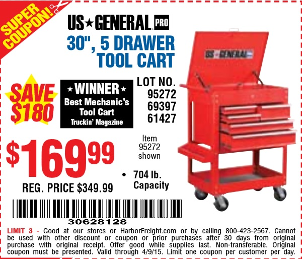 Harbor Freight 5 Drawer Tool Cart : Harbor freight coupon in drawer tool cart lot no