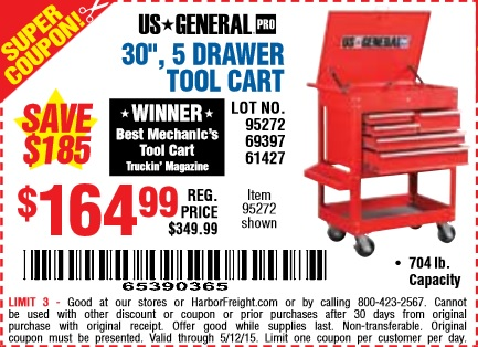 harbor freight coupon 30in 5 drawer tool cart lot no 95272 69397 61427 expires 5 12 15. Black Bedroom Furniture Sets. Home Design Ideas