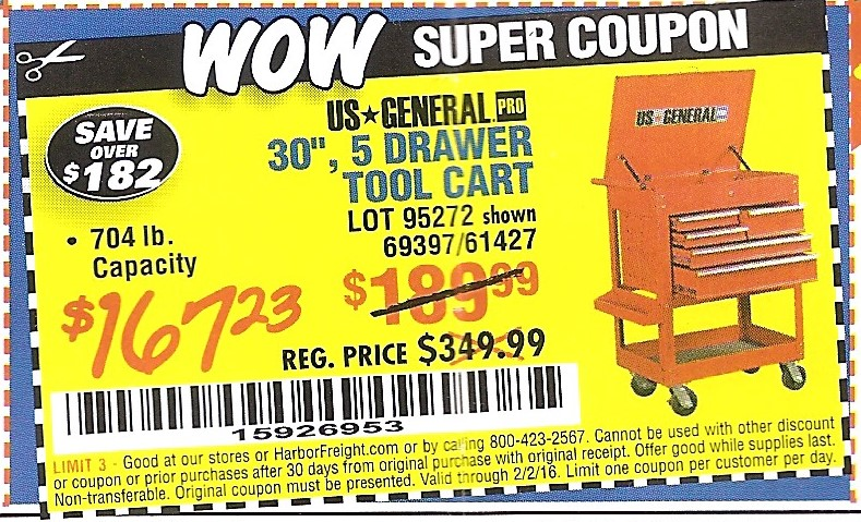 harbor freight coupon 30 5 drawer tool cart lot no 95272 69397 61427 valid thru 2 2 16. Black Bedroom Furniture Sets. Home Design Ideas
