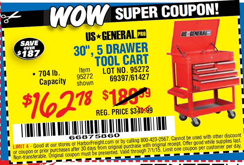 harbor freight 5 drawer tool cart coupon 2018 / coupons for els ...