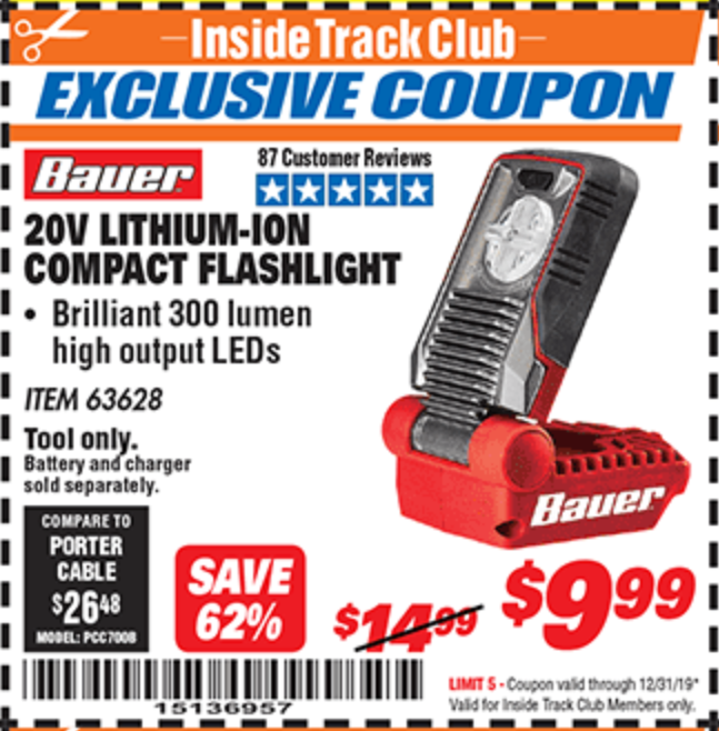 Harbor Freight 20V LITHIUM-ION COMPACT FLASHLIGHT coupon