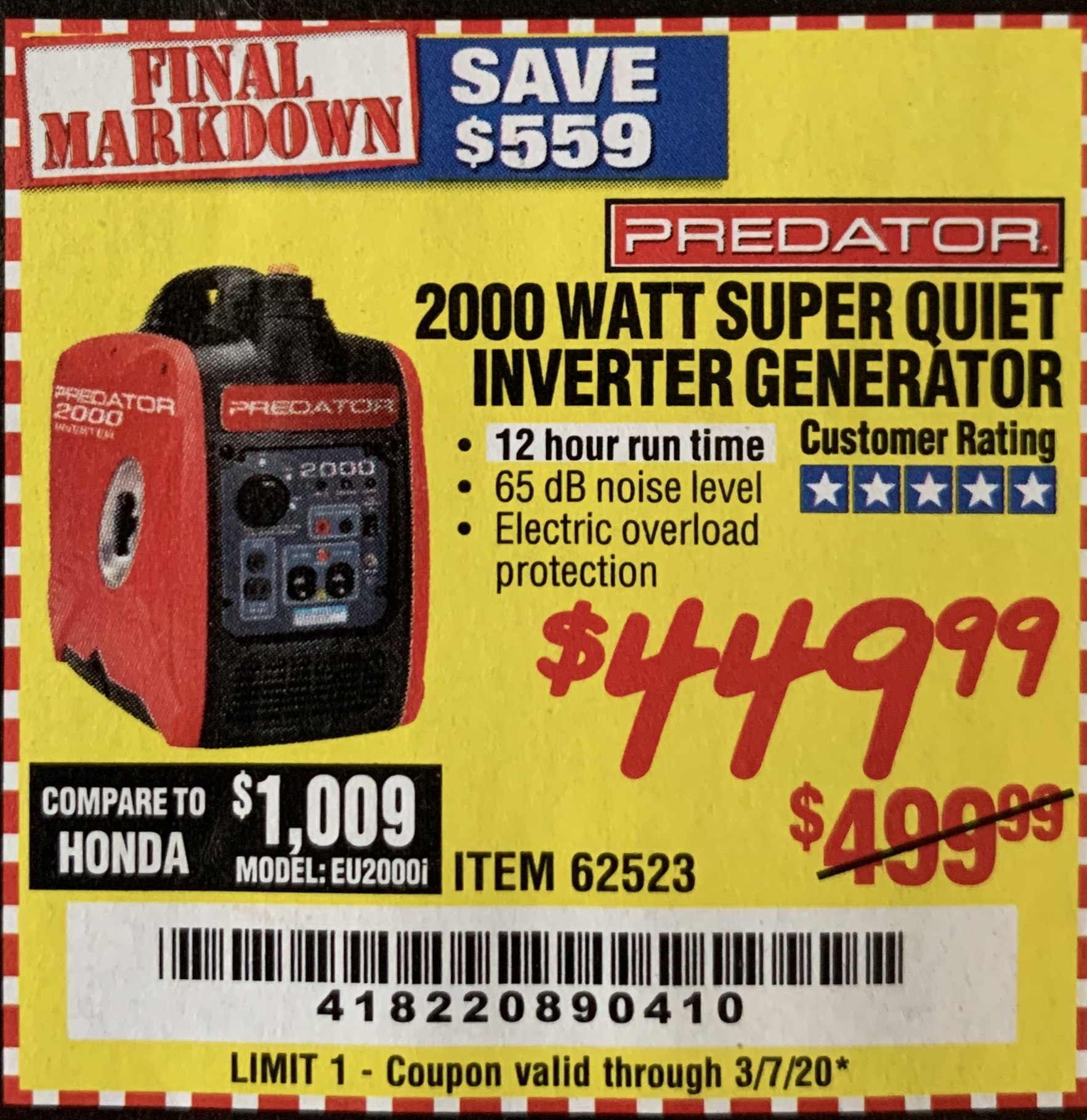 Harbor Freight 2000 WATT SUPER QUIET INVERTER GENERATOR coupon