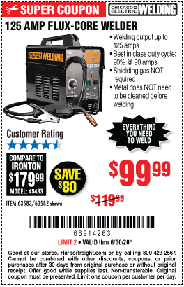 Harbor Freight CHICAGO ELECTRIC FLUX 125 WELDER coupon