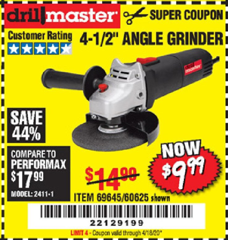 Harbor Freight $5 DRILLMASTER 4 1/2