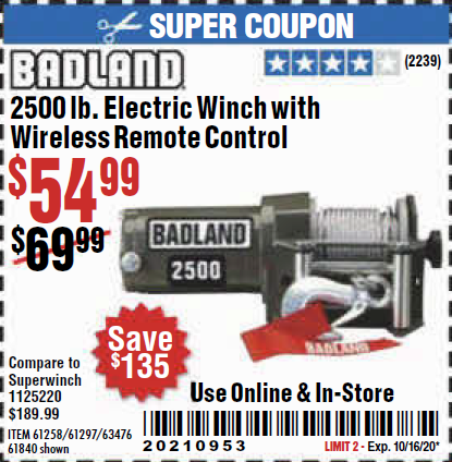 Harbor Freight BADLAND 2500 LB. ELECTRIC WINCH WITH WIRELESS REMOTE CONTROL coupon