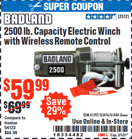 www.hfqpdb.com - BADLAND 2500 LB. ELECTRIC WINCH WITH WIRELESS REMOTE CONTROL Lot No. 61258/61297/64376/61840
