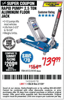 Harbor Freight PITTSBURGH RAPID PUMP 2.5 TON ALUMINUM FLOOR JACK coupon