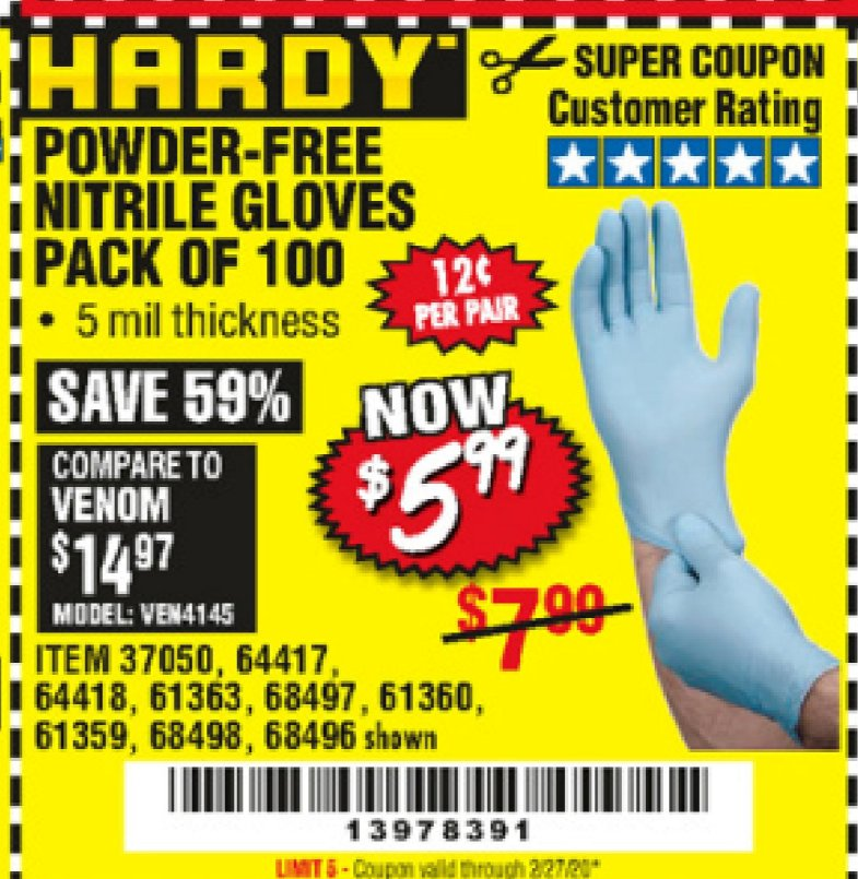 Harbor Freight HARDY POWDER-FREE NITRILE GLOVES PACK OF 100 coupon