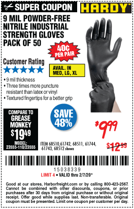 Harbor Freight 9 MIL POWDER-FREE NITRILE INDUSTRIAL GLOVE, PACK OF 50 coupon
