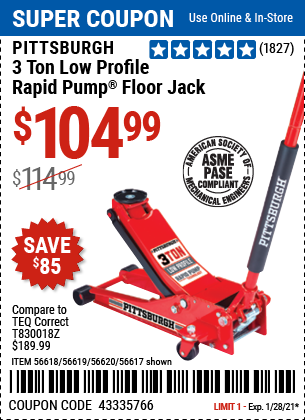 www.hfqpdb.com - HEAVY DUTY 3 TON LOW PROFILE STEEL FLOOR JACK Lot No. 56618/56619/56620/56617