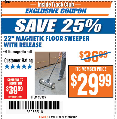 """www.hfqpdb.com - 22"""" MAGNETIC FLOOR SWEEPER WITH RELEASE Lot No. 98399"""
