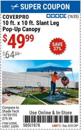 Harbor Freight 10 FT X 10 FT SLANT LEG POP-UP CANOPY coupon