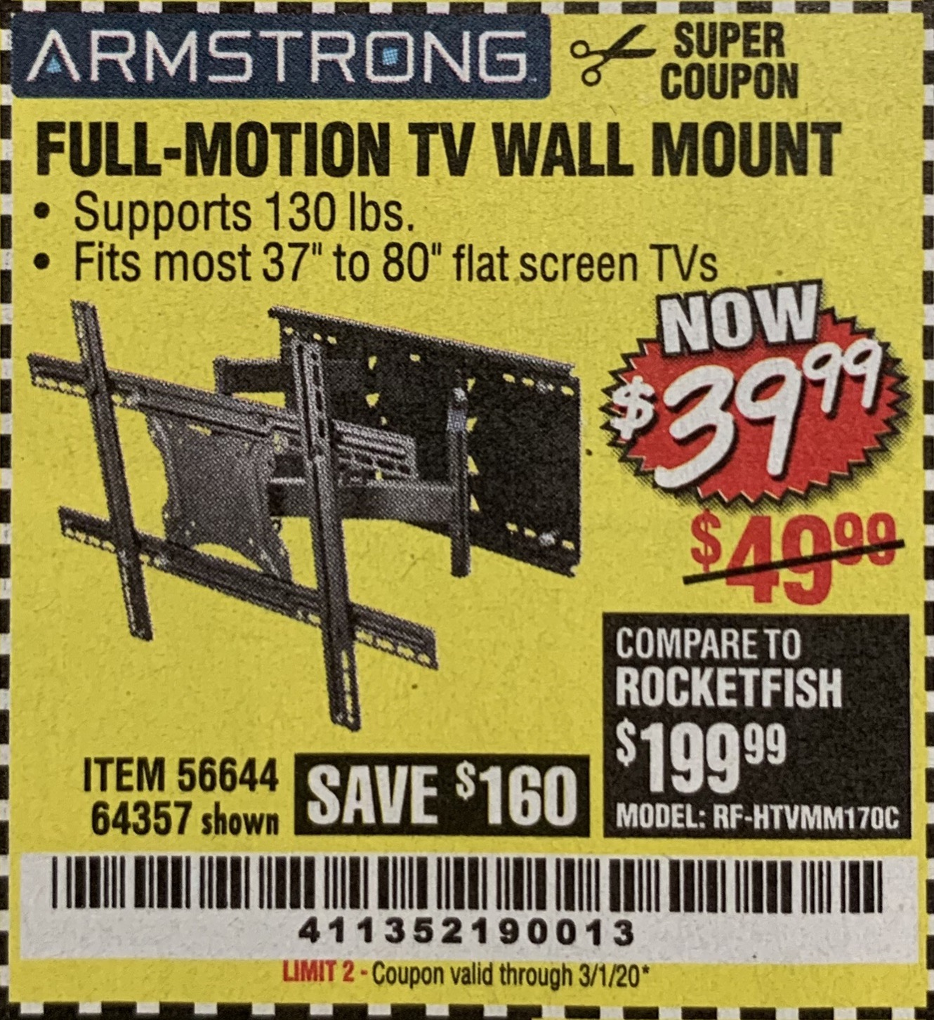 Harbor Freight FULL-MOTION TV WALL MOUNT coupon