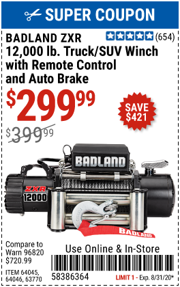Harbor Freight 12,000 LB. TRUCK/SUV WINCH WITH REMOTE CONTROL AND AUTO BRAKE coupon