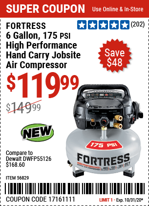 Harbor Freight FORTRESS 6 GALLON, 175 PSI OIL-FREE AIR COMPRESSOR coupon
