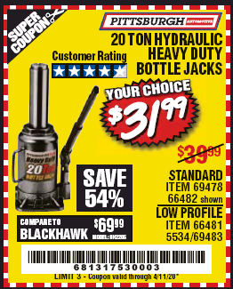 www.hfqpdb.com - 20 TON HYDRAULIC BOTTLE JACK, STANDARD AND LOW PROFILE Lot No. 69478 66482 66481 5534 69483
