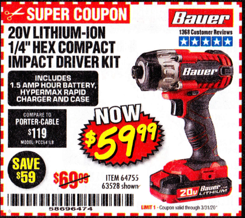 Harbor Freight 20 VOLT LITHIUM-ION CORDLESS 1/4