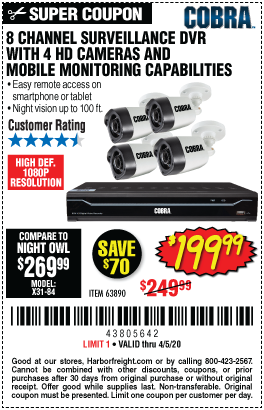 Harbor Freight COBRA SURVEILLENCE SYSTEMS coupon