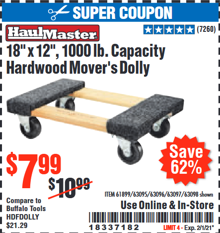 "www.hfqpdb.com - HAUL MASTER 18"" X 12"" MOVER'S DOLLY Lot No. 60497/61899/63095/63096/63097/63098"