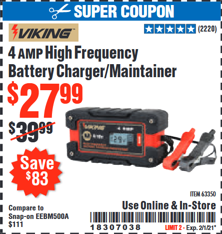 www.hfqpdb.com - VIKING 4AMP 6/12 VOLT HIGH FREQ BATTERY CHARGER/MAINTAINER Lot No. 63350