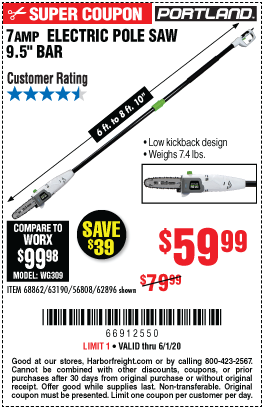 Harbor Freight 7AMP ELECTRIC POLE SAW 9.5