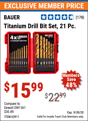 Harbor Freight 21 PIECE TITANIUM DRILL BIT SET coupon