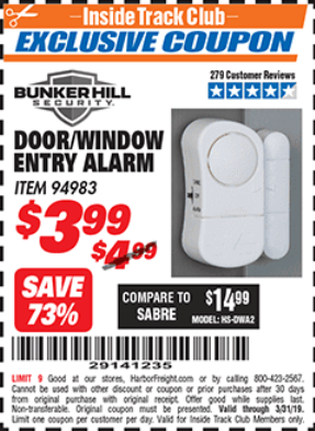 Harbor Freight DOOR/WINDOW ENTRY ALARM coupon