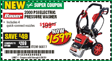 www.hfqpdb.com - 2000 PSI ELECTRIC PRESSURE WASHER Lot No. 56877